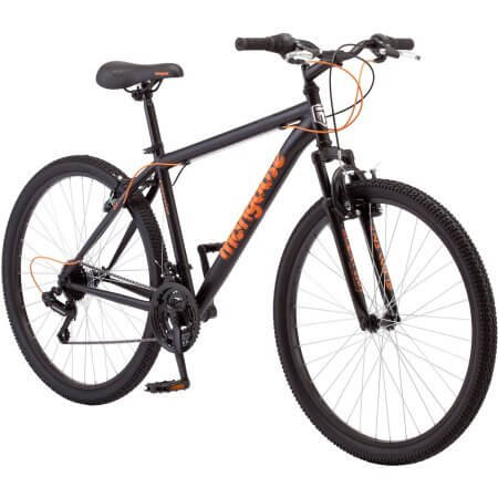 27.5″ Mongoose Excursion Men's Mountain Bike, Black/Orange